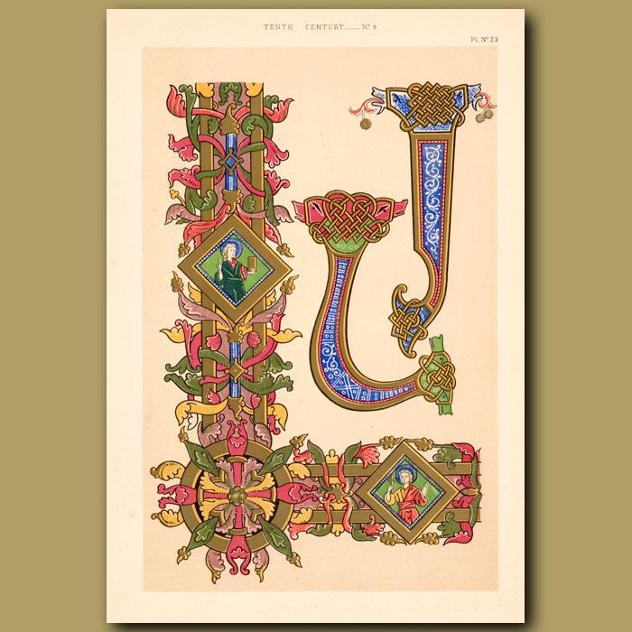 Antique print. Tenth Century No. 4. Illuminations From Gospels Of Canute