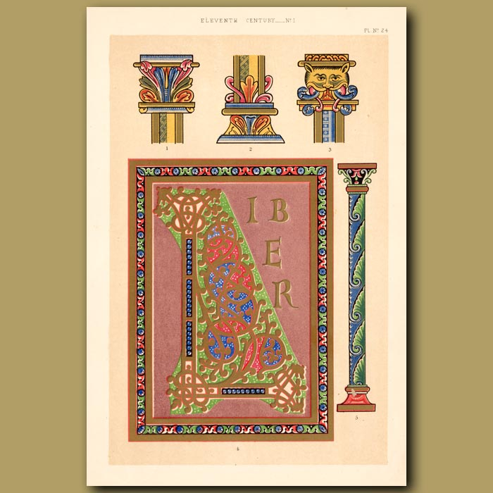 Antique print. Eleventh Century No. 1. Letters And Illuminations