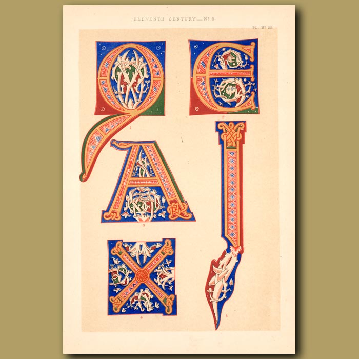 Antique print. Eleventh Century No. 2. Romanesque Letters From German Work In British Museum