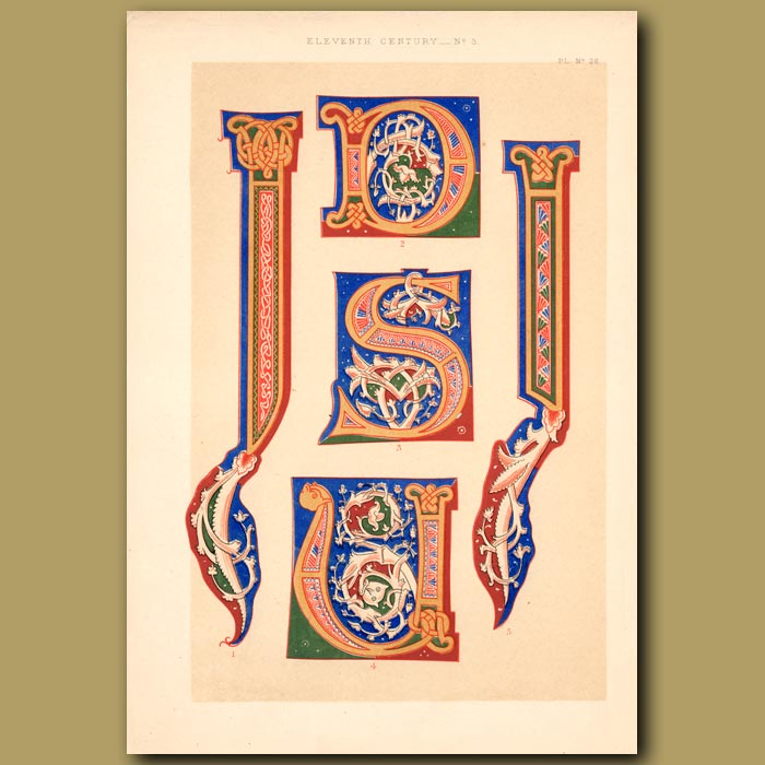 Antique print. Eleventh Century No. 3. Romanesque Letters From German Work In British Museum