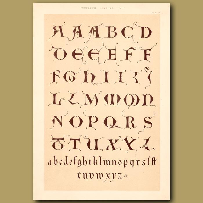 Antique print. Twelfth Century No. 1. Alphabet From German Monastry At Trier
