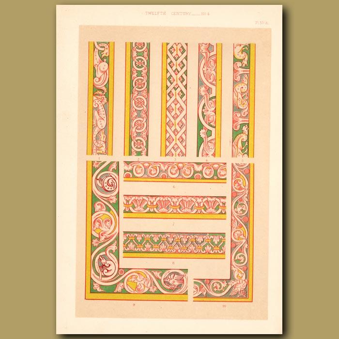Antique print. Twelfth Century No. 4. Ornamental Borders From English Manuscript