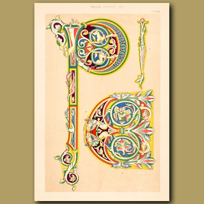 Antique print. Twelfth Century No. 5. Ornamental Initial Letters P And C