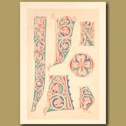 Twelfth Century No. 6. Ornamental Initial Letters J, F, N, O Etc
