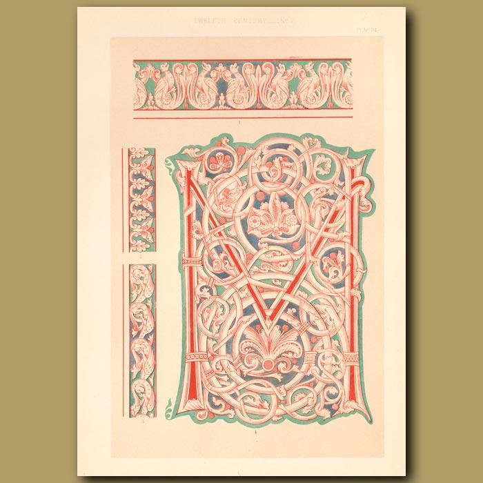 Antique print. Twelfth Century No. 7. Ornamental Letter M
