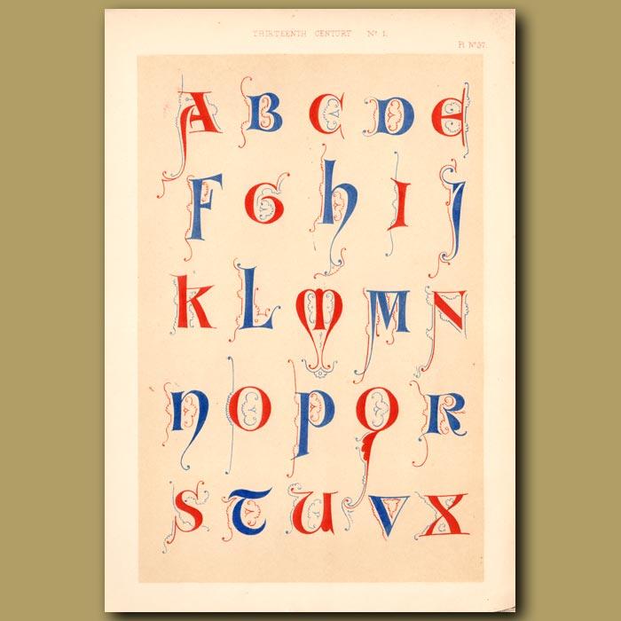 Antique print. Thirteenth Century No. 1. English Alphabet From Arundel Church Canons