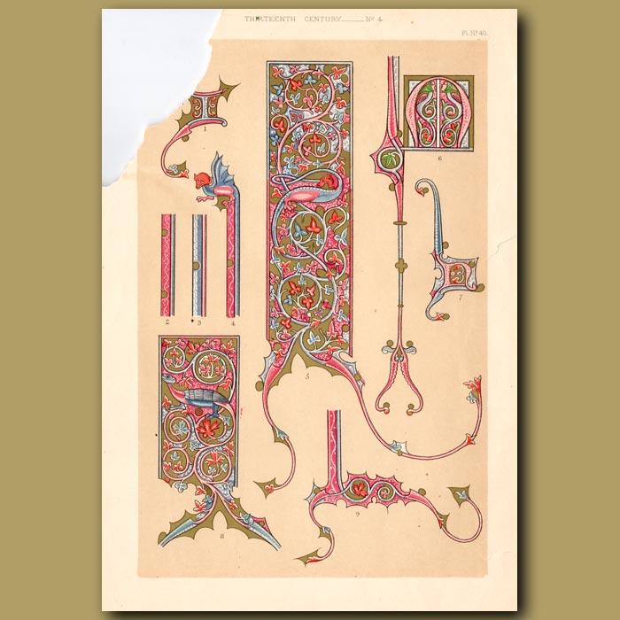 Antique print. Not For Sale. Thirteenth Century No. 4. Borders