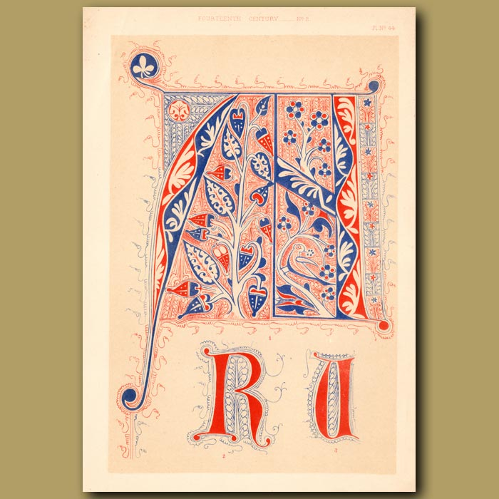 Antique print. Fourteenth Century No. 2. Letters R, U And P From French Works