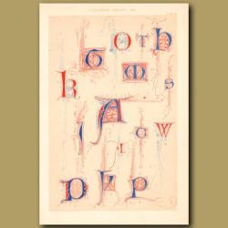 Fourteenth Century No. 3. Letters K, T, H, A, W, P, O Etc