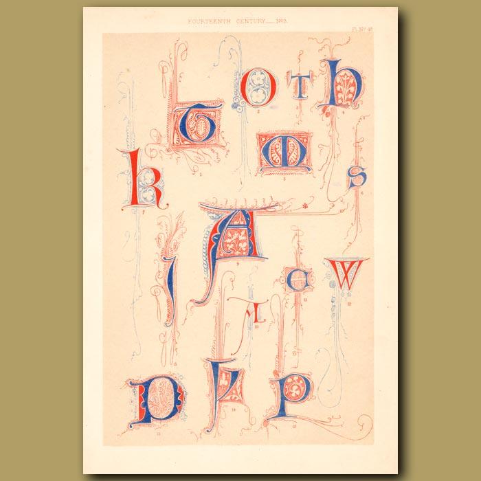 Antique print. Fourteenth Century No. 3. Letters K, T, H, A, W, P, O Etc