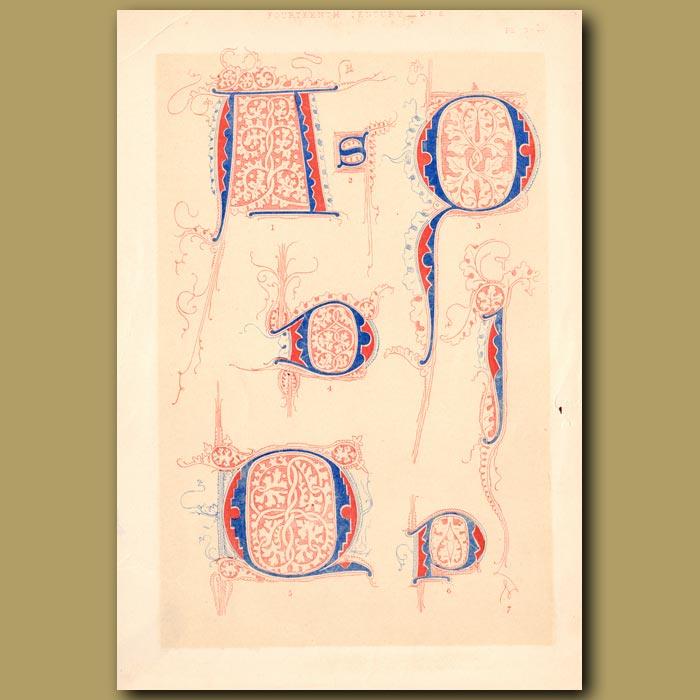 Antique print. Fourteenth Century No. 6. Letters S,D,P,Q,I Etc