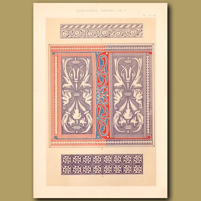 Antique print. Fourteenth Century No. 7. Decorations