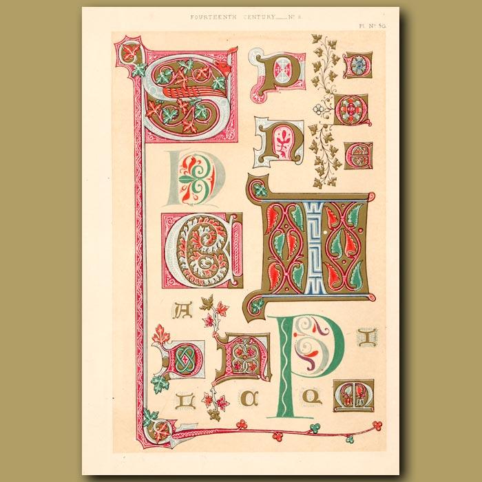 Antique print. Fourteenth Century No. 8. Letters S,P,N,H,C,I Etc