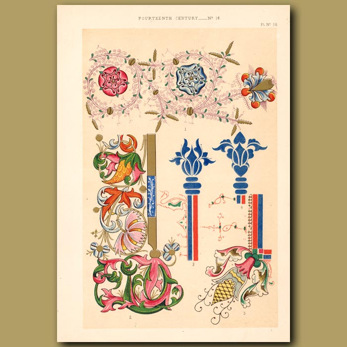 Antique print. Fourteenth Century No. 16. Letters From Italian Choral Works