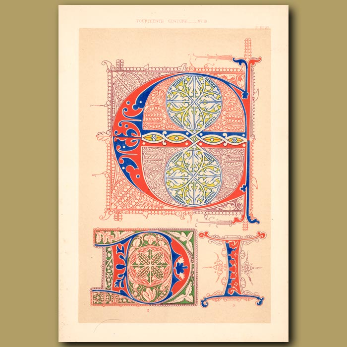 Antique print. Fourteenth Century No. 18. Letters From Italian Choral Works