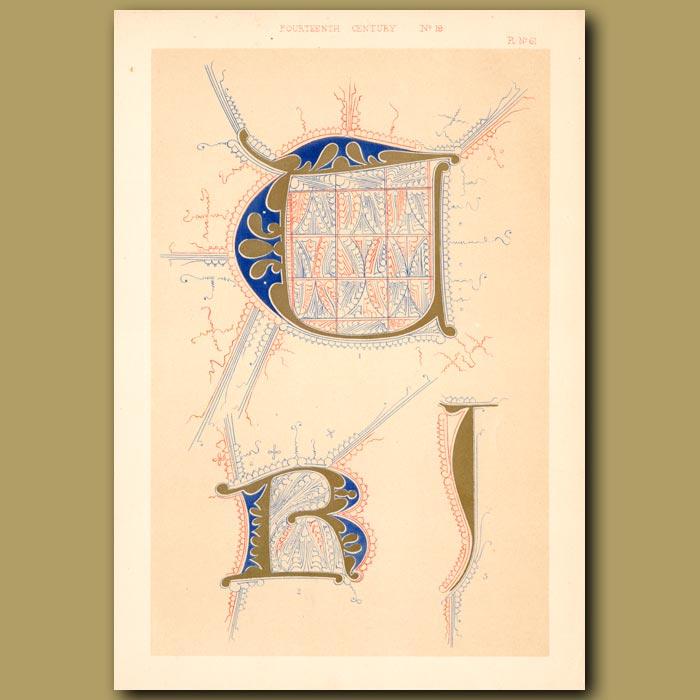 Antique print. Fourteenth Century No. 19. Various Letters