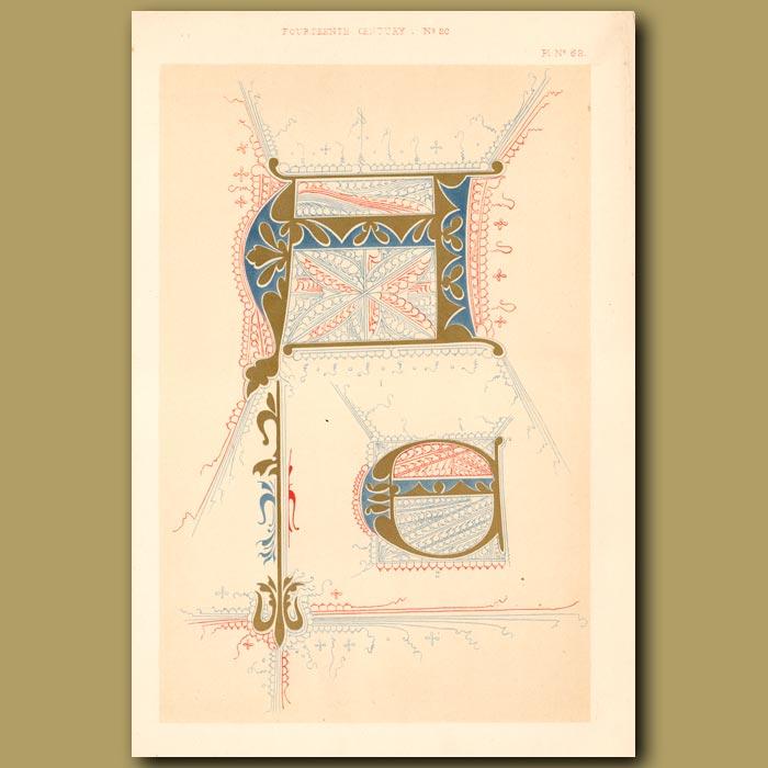 Antique print. Fourteenth Century No. 20. Various Letters