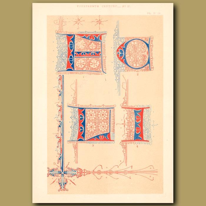 Antique print. Fourteenth Century No. 21. Various Letters