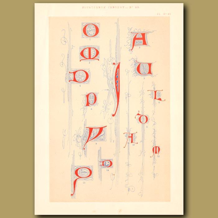 Antique print. Fourteenth Century No. 23. Various Letters