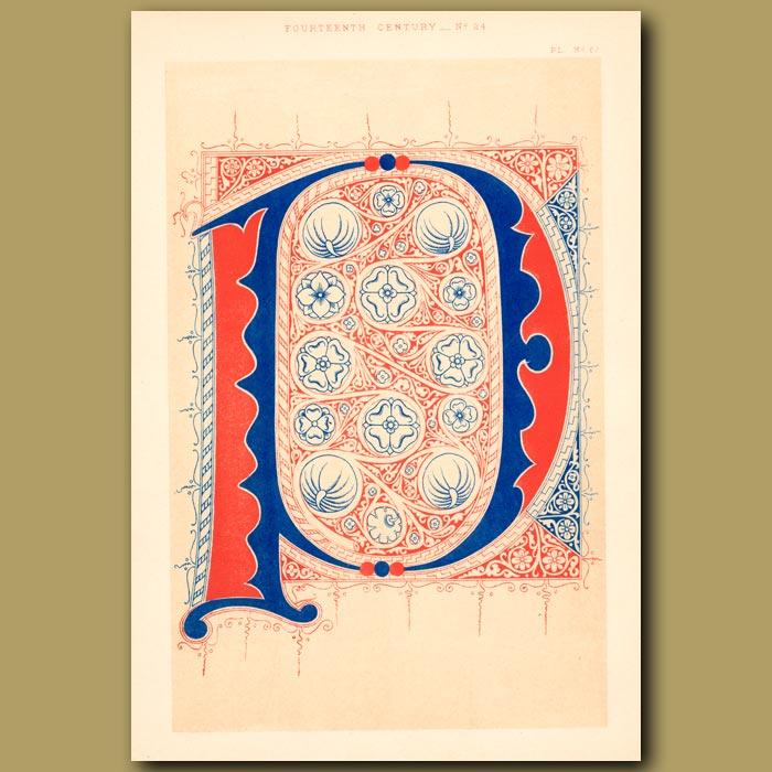 Antique print. Fourteenth Century No. 24. Initial Letter P (or D?)