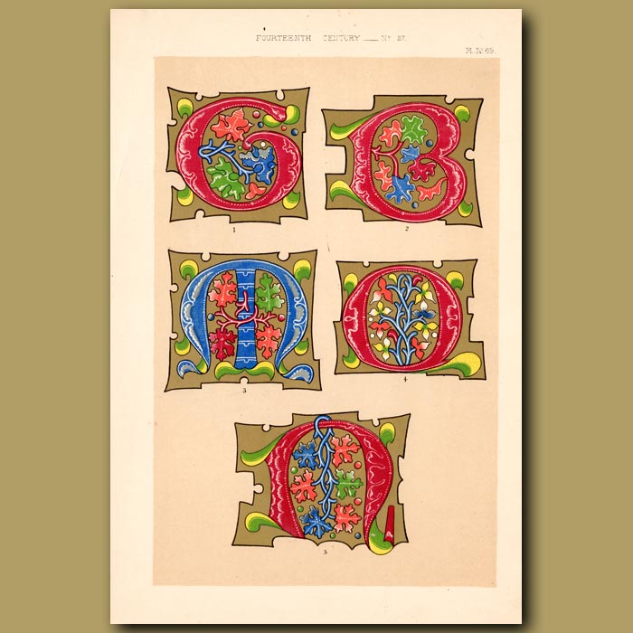 Antique print. Fourteenth Century No. 27. Various Inititial Letters