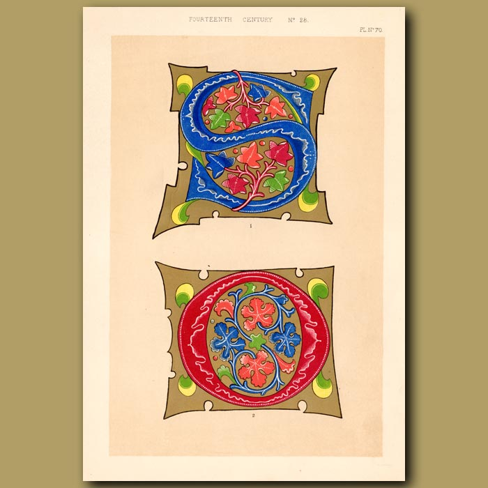 Antique print. Fourteenth Century No. 28. Elaborate Inital Letters S And O