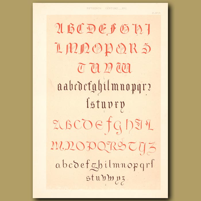 Antique print. Fifteenth Century No. 1. English Alphabets From British Museum