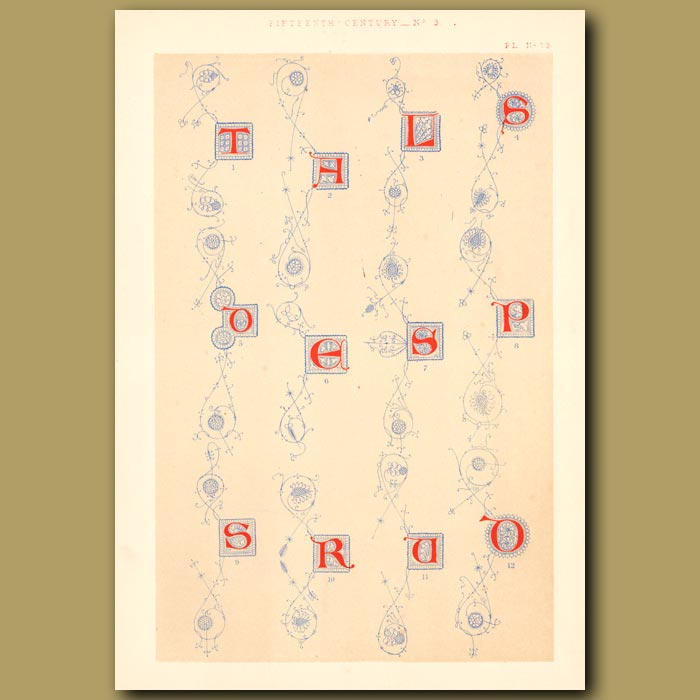 Antique print. Fifteenth Century No. 3. Various Letters From British Museum (T,H,L,S,E,S,P,R,O Etc)