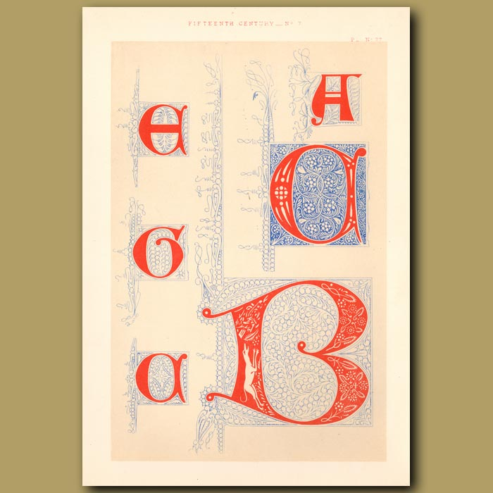 Antique print. Fifteenth Century No. 7. Various Initial Letters From British Museum