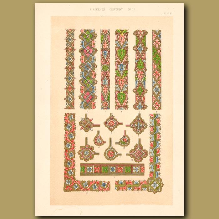 Antique print. Fifteenth Century No. 15. Deocrative Borders From British Museum