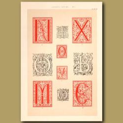 Sixteenth Century No.1. Various Initial Letters (N,T,X,O,V,B,M,C)