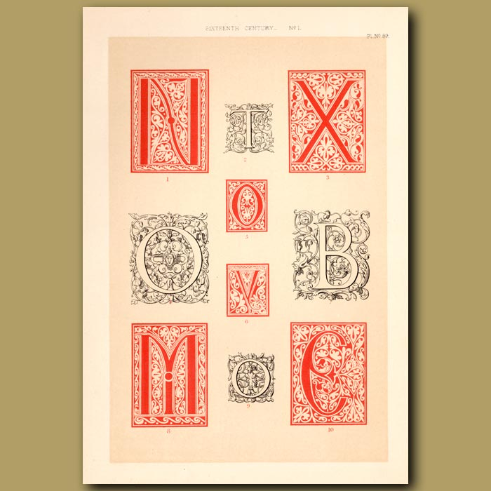 Antique print. Sixteenth Century No.1. Various Initial Letters (N,T,X,O,V,B,M,C)