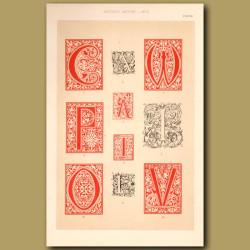 Sixteenth Century No.2. Various Initial Letters (A,C,W,P,A,I,O,E,V,I)