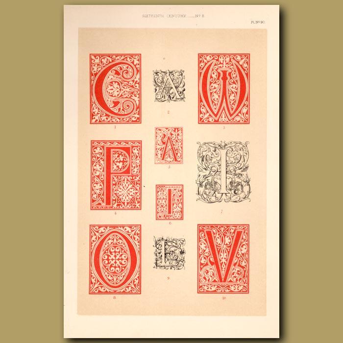 Antique print. Sixteenth Century No.2. Various Initial Letters (A,C,W,P,A,I,O,E,V,I)