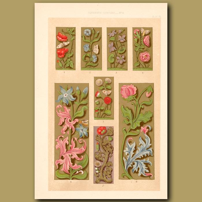 Antique print. Sixteenth Century No.3. Decorative Floral Borders