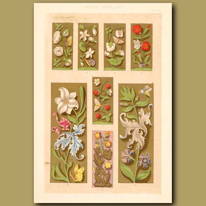 Antique print. Sixteenth Century No.4. Decorative Floral Borders