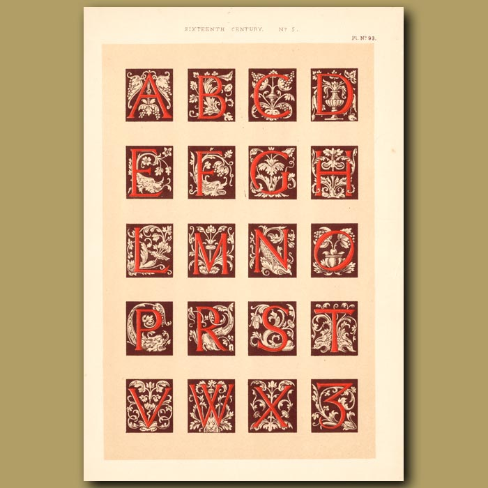 Antique print. Sixteenth Century No.5. Alphabet Of Initial Letters