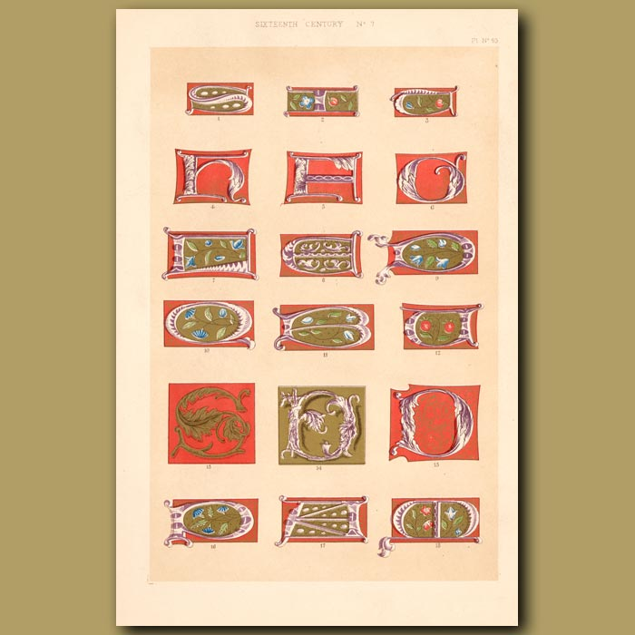 Antique print. Sixteenth Century No.7. Various Initial Letters (S,I,C,HE,OQ,B,D Etc)