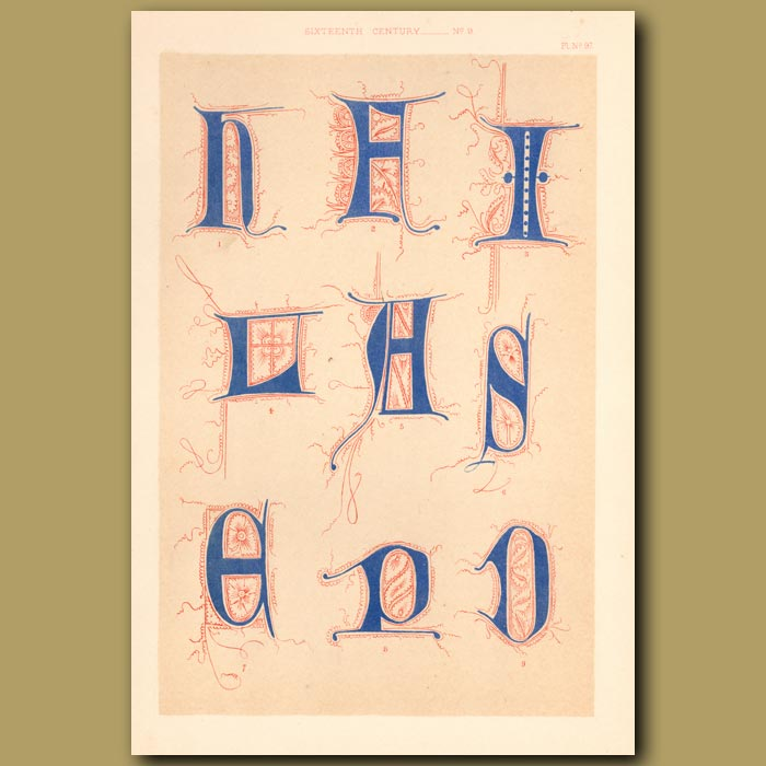 Antique print. Sixteenth Century No.9. Various Initial Letters (H,L,P,D,E,S,I Etc)