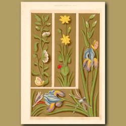 Sixteenth Century No.11. Elaborate Borders Wih Ladybirds,Dragonflies And Flowers