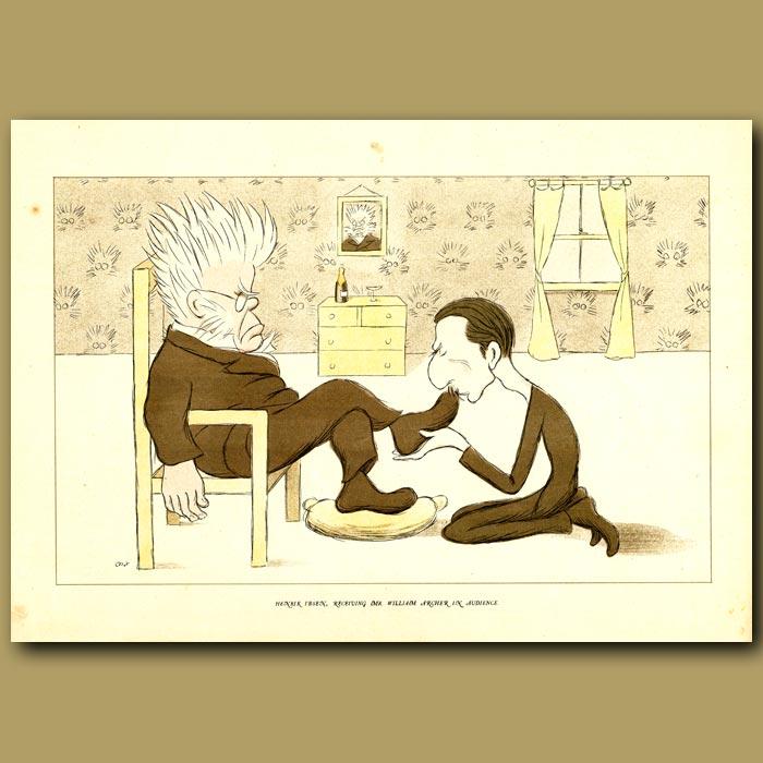Antique print. Henrik Ibsen