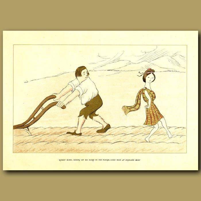 Antique print. Robert Burns