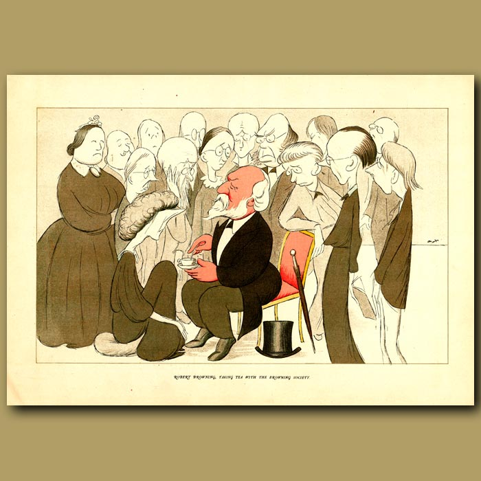 Antique print. Robert Browning, taking tea with the Browning Society
