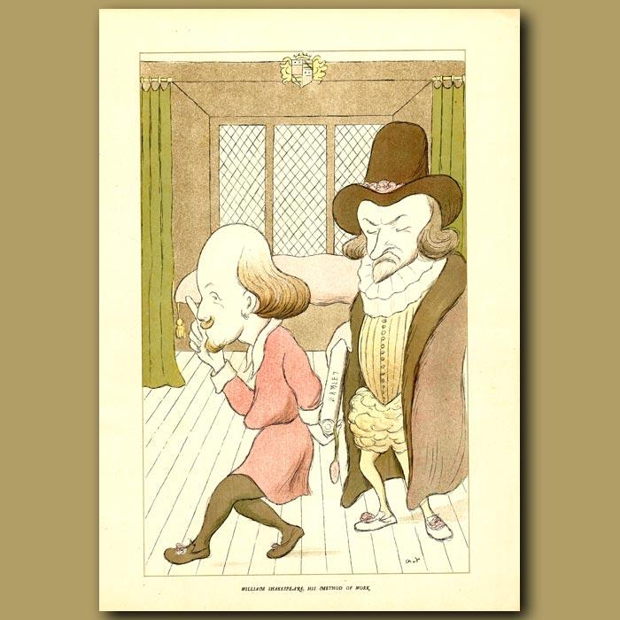 Antique print. William Shakespeare, his method of work