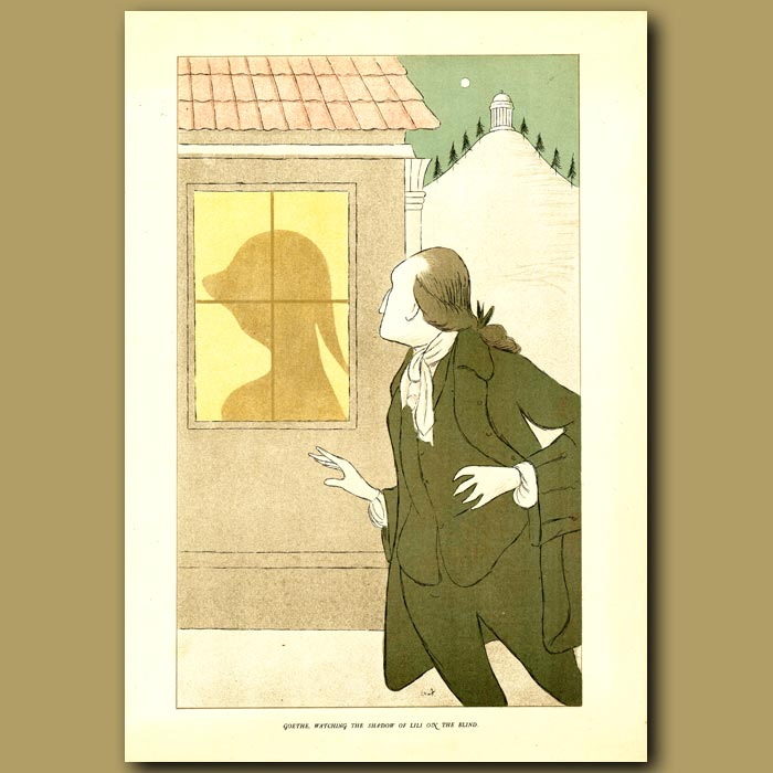 Antique print. Goethe, watching the shadow of Lili on the blind