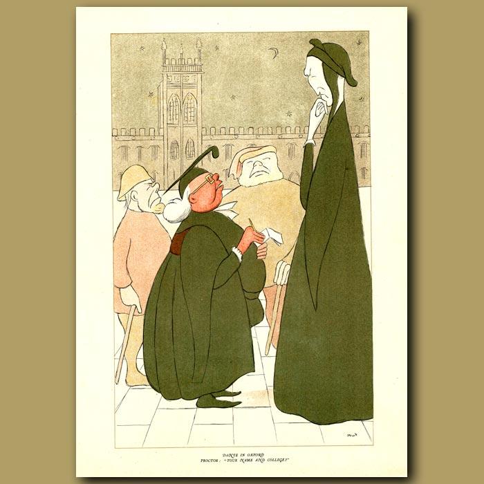 Antique print. Dante in Oxford