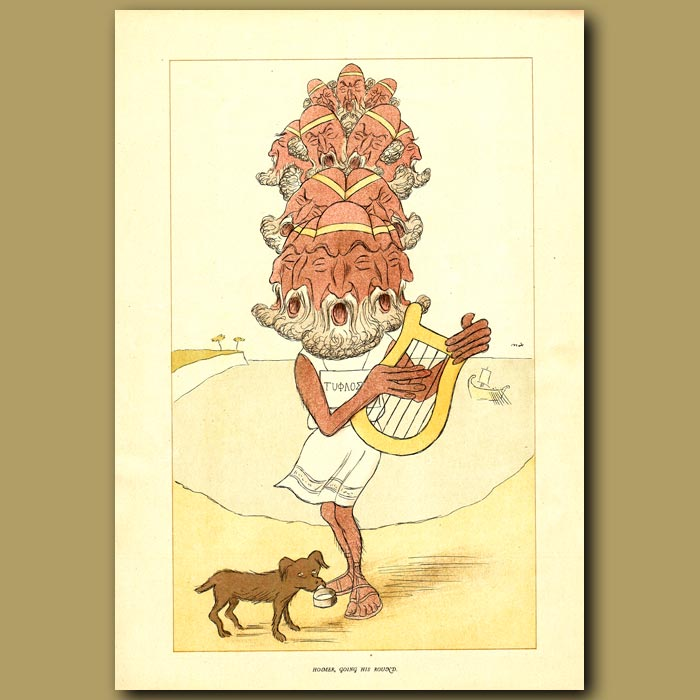 Antique print. Homer, going his round