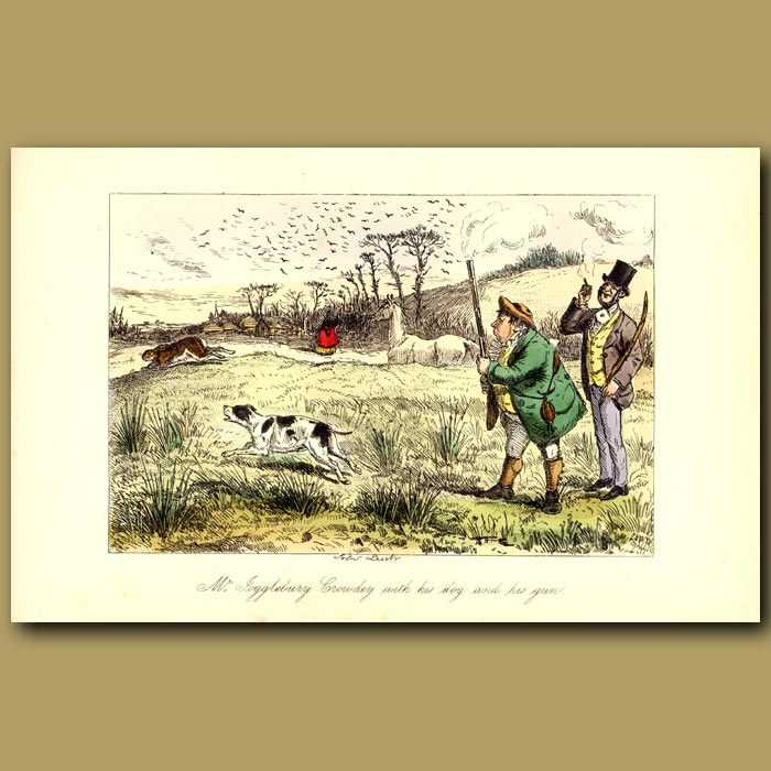 Antique print. Mr Jogglebury Crowdey with his dog and his gun