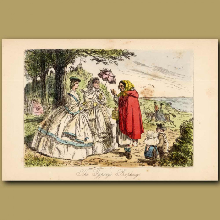 Antique print. The Gypsey's Prophecy