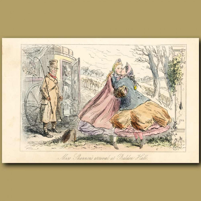Antique print. Miss Shannon's Arrival At Baldon Hall